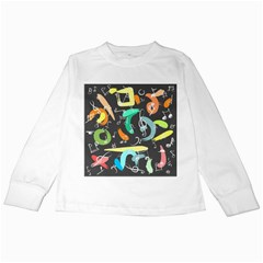 Repetition Seamless Child Sketch Kids Long Sleeve T Shirts by Nexatart