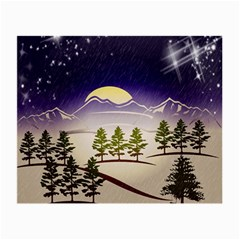 Background Christmas Snow Figure Small Glasses Cloth (2 Side) by Nexatart
