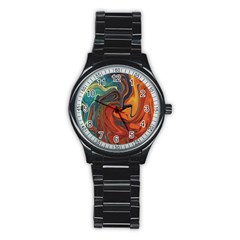 Creativity Abstract Art Stainless Steel Round Watch by Nexatart