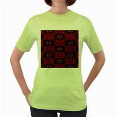 Pattern Decoration Art Abstract Women s Green T Shirt