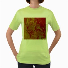 Texture Pattern Abstract Art Women s Green T Shirt