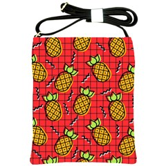 Fruit Pineapple Red Yellow Green Shoulder Sling Bags by Alisyart