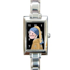 Girl With A Pearl Earring Rectangle Italian Charm Watch by Valentinaart