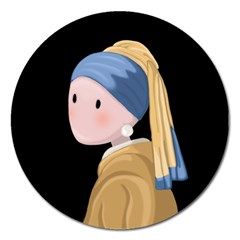 Girl With A Pearl Earring Magnet 5  (round) by Valentinaart