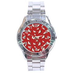 Paper Cranes Pattern Stainless Steel Analogue Watch by Valentinaart