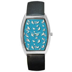 Paper Cranes Pattern Barrel Style Metal Watch by Valentinaart