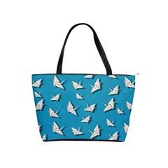 Paper Cranes Pattern Shoulder Handbags by Valentinaart