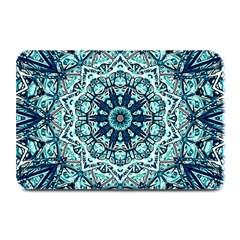 Green Blue Black Mandala  Psychedelic Pattern Plate Mats by Costasonlineshop