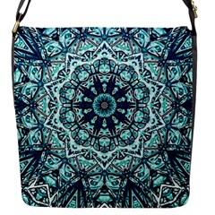 Green Blue Black Mandala  Psychedelic Pattern Flap Messenger Bag (s) by Costasonlineshop