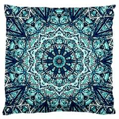 Green Blue Black Mandala  Psychedelic Pattern Large Flano Cushion Case (one Side) by Costasonlineshop