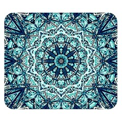 Green Blue Black Mandala  Psychedelic Pattern Double Sided Flano Blanket (small)  by Costasonlineshop