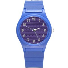 Color Of The Year 2018   Ultraviolet   Art Deco Black Edition Round Plastic Sport Watch (s) by tarastyle