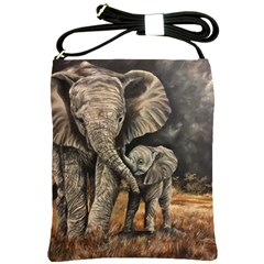Elephant Mother And Baby Shoulder Sling Bags by ArtByThree