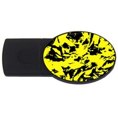 Yellow Black Abstract Military Camouflage Usb Flash Drive Oval (4 Gb) by Costasonlineshop