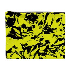 Yellow Black Abstract Military Camouflage Cosmetic Bag (xl) by Costasonlineshop