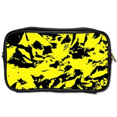 Yellow Black Abstract Military Camouflage Toiletries Bags by Costasonlineshop