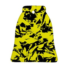 Yellow Black Abstract Military Camouflage Bell Ornament (two Sides) by Costasonlineshop