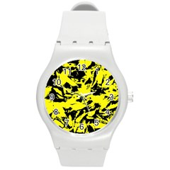 Yellow Black Abstract Military Camouflage Round Plastic Sport Watch (m) by Costasonlineshop