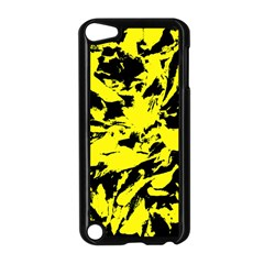 Yellow Black Abstract Military Camouflage Apple Ipod Touch 5 Case (black) by Costasonlineshop