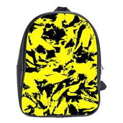 Yellow Black Abstract Military Camouflage School Bag (xl) by Costasonlineshop