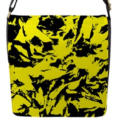 Yellow Black Abstract Military Camouflage Flap Messenger Bag (s) by Costasonlineshop
