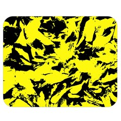 Yellow Black Abstract Military Camouflage Double Sided Flano Blanket (medium)  by Costasonlineshop