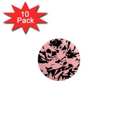 Old Rose Black Abstract Military Camouflage 1  Mini Magnet (10 Pack)