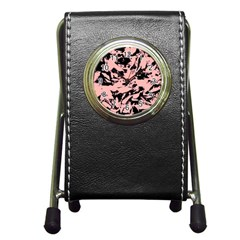 Old Rose Black Abstract Military Camouflage Pen Holder Desk Clocks by Costasonlineshop