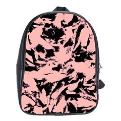 Old Rose Black Abstract Military Camouflage School Bag (xl) by Costasonlineshop