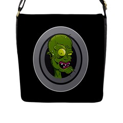 Zombie Pictured Illustration Flap Messenger Bag (l)  by Onesevenart