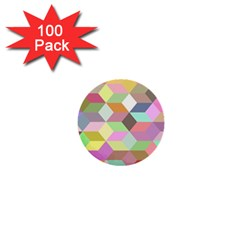 Mosaic Background Cube Pattern 1  Mini Buttons (100 Pack)  by Onesevenart
