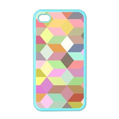 Mosaic Background Cube Pattern Apple Iphone 4 Case (color) by Onesevenart