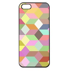 Mosaic Background Cube Pattern Apple Iphone 5 Seamless Case (black) by Onesevenart
