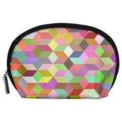 Mosaic Background Cube Pattern Accessory Pouches (large)