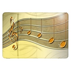 Music Staves Clef Background Image Samsung Galaxy Tab 8 9  P7300 Flip Case by Onesevenart