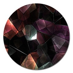 Crystals Background Design Luxury Magnet 5  (round) by Onesevenart