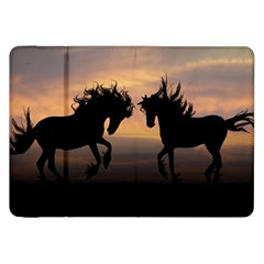 Horses Sunset Photoshop Graphics Samsung Galaxy Tab 8 9  P7300 Flip Case by Onesevenart