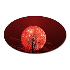The Background Red Moon Wallpaper Oval Magnet