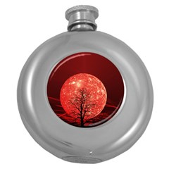 The Background Red Moon Wallpaper Round Hip Flask (5 Oz) by Onesevenart