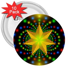 Christmas Star Fractal Symmetry 3  Buttons (10 Pack)  by Onesevenart
