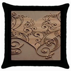 Wood Sculpt Carved Background Throw Pillow Case (black) by Onesevenart
