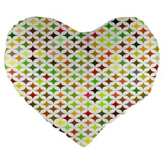 Background Multicolored Star Large 19  Premium Heart Shape Cushions by Onesevenart