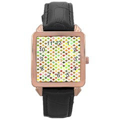 Background Multicolored Star Rose Gold Leather Watch  by Onesevenart