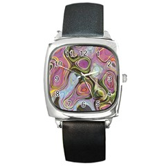 Retro Background Colorful Hippie Square Metal Watch by Onesevenart