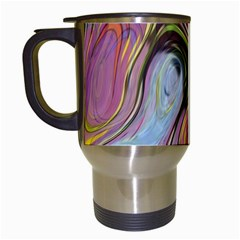 Retro Background Colorful Hippie Travel Mugs (white) by Onesevenart