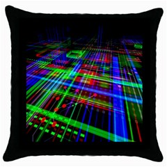 Electronics Board Computer Trace Throw Pillow Case (black) by Onesevenart
