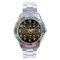 Board Digitization Circuits Stainless Steel Analogue Watch by Onesevenart