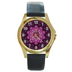 Background Abstract Texture Pattern Round Gold Metal Watch by Onesevenart