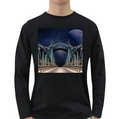 Bridge Mars Space Planet Long Sleeve Dark T Shirts by Onesevenart