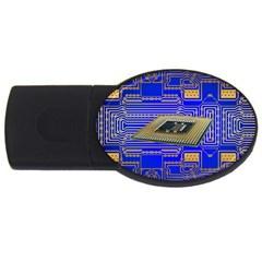 Processor Cpu Board Circuits Usb Flash Drive Oval (4 Gb) by Onesevenart